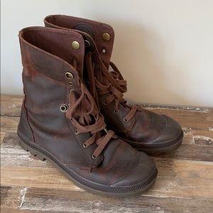 Brown Leather Palladium Boots